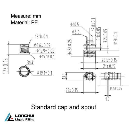 standard spout and cap sizes